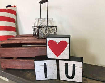 Table top decorative love block set, 3 pieces