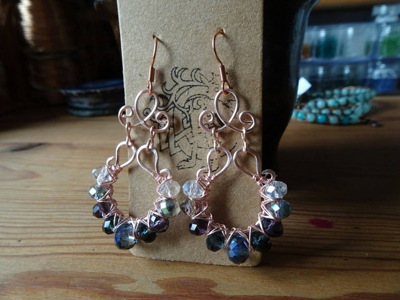 RoseGold Wire Wrapped Earrings Crystal Glass Beads with hypoallergenic Earhooks antique vintage style bollywood indian hippie boho gift idea