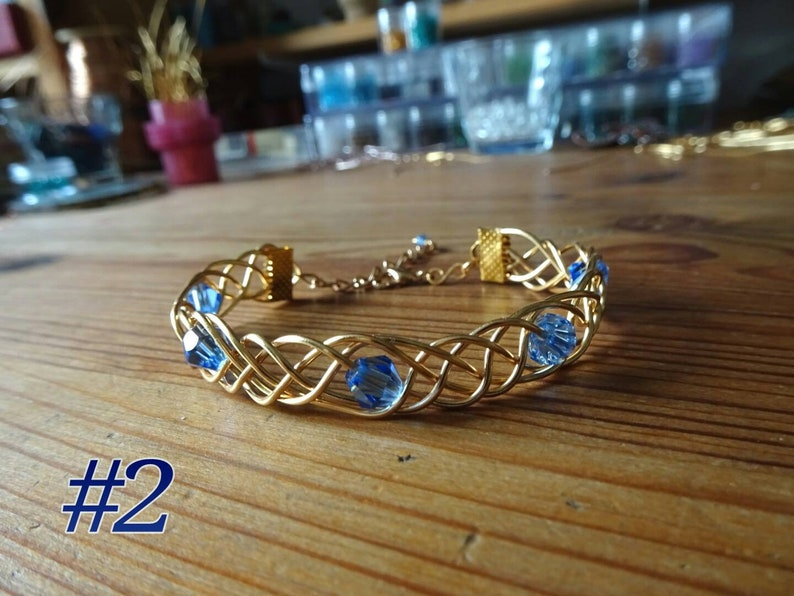 Golden Wire Braid Bracelet Bangle with Crystal Glass Bicones Vintage Boho Gift for her petite antique roman celtic etruscan egyptian greek