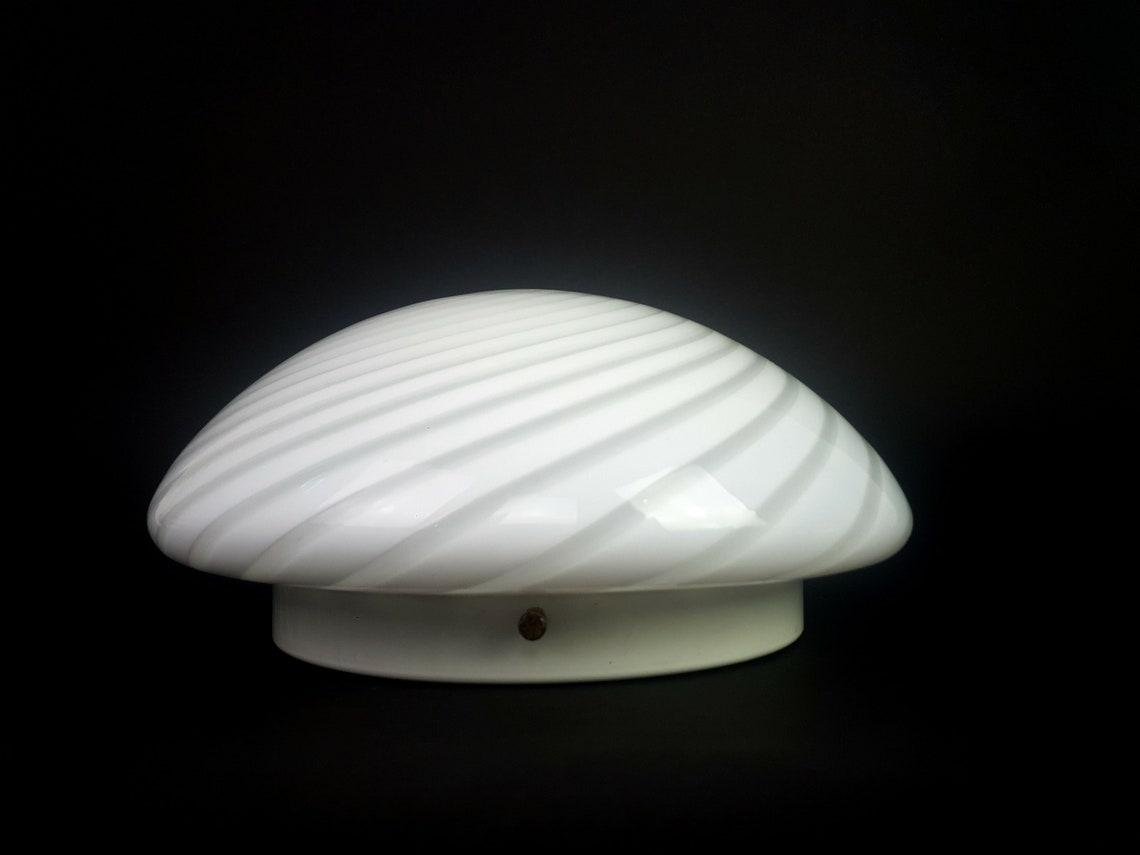 Wonderful VETRI MURANO- Hand Blown Swirl Murano White Art Glass Flush mount, Ceiling Lamp, Italy 1970s