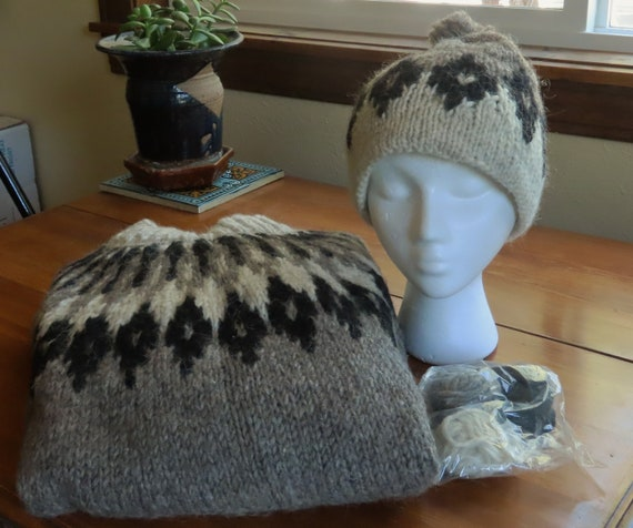 Hand Constructed Mohair Sweater and Matching Hat