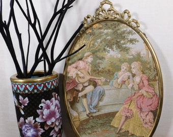 Vintage French Needlepoint Large Textile Antique Needlepoint Embroidery Wall Hanging Art Rococo Regency Decor Francois Boucher Classical Art