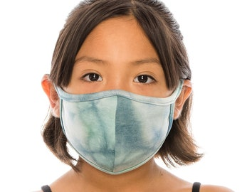 Kids Size Face Mask with Filter Pocket | Tie Dye Fashion Mask Cover | Washable Reusable Made In USA