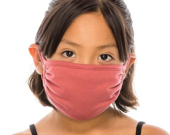 Kids Size 3 Layer Face Mask Cover | Everyday Cotton Mask | Washable Reusable Made In USA
