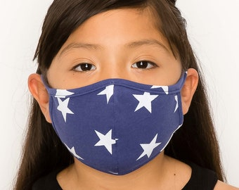 Kids Size Cotton Face Mask | Double Layer Cloth Face Cover | Washable Reusable Made In USA