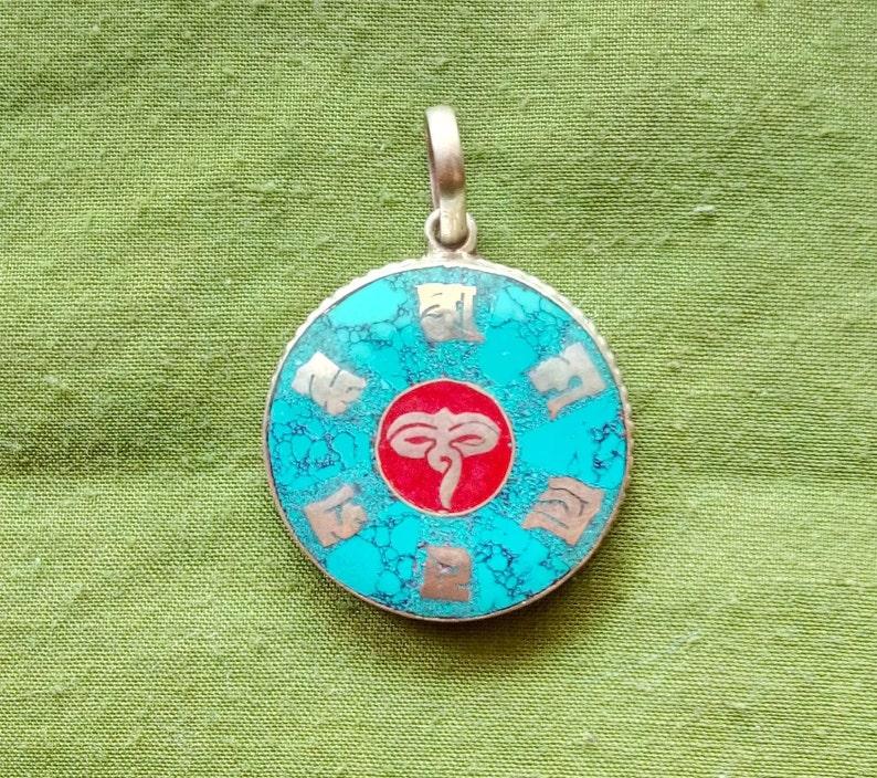 Tibetan Amulet Buddha's Eyes with Om Mani Padme Hum Turquoise