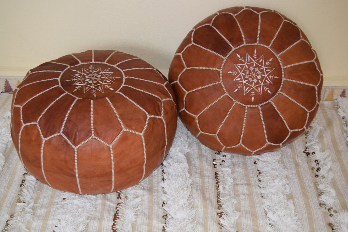 SALE ** Set Of 2X Moroccan Leather Poufs Ottoman With Top Embroidery in DarckWith White,Handmade Ottman Poufe, Moroccan home Boho decor ,
