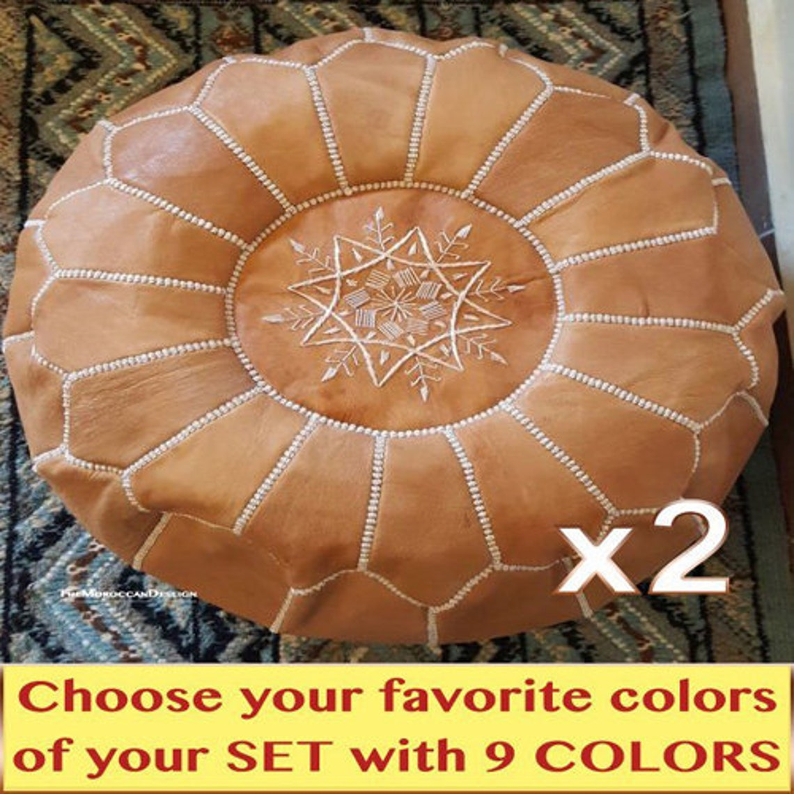 Set of X2 AMAZING MOROCCAN LEATHER Pouf Footstoole Handmade Ottman Poufe , Leather pouf, Luxury poufs, Moroccan home Boho decor , #Colors