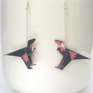 Handmade Sterling Silver Origami Jewellery Origami Dinosaur Earrings Unique Gift