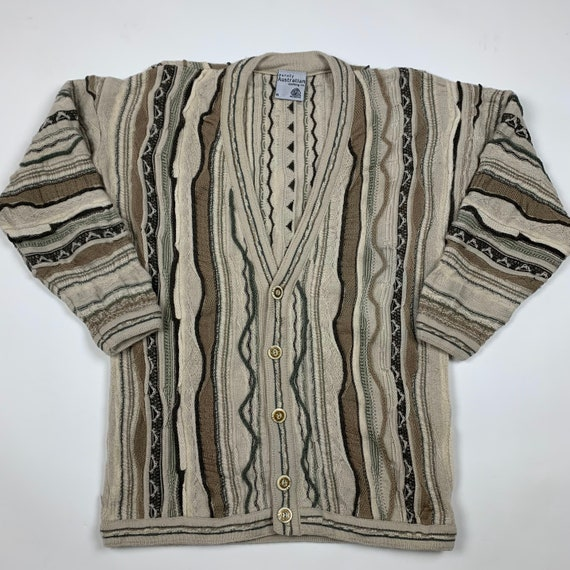 Vintage 90s Australian Coogi Style Wool Cardigan