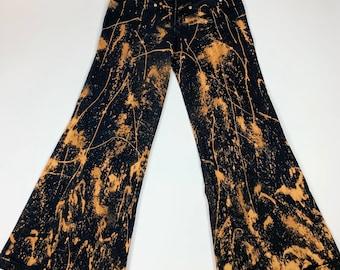 Vintage 90s Gothic Acid Washed Denim Jean Pants