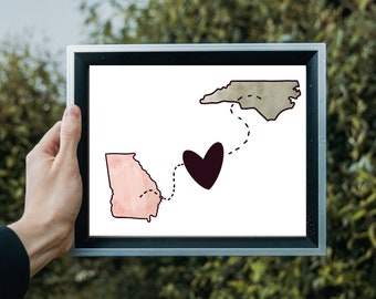 Two States | Love | Watercolor | Friendship | Custom | Location | Gift | Personalized State Heart