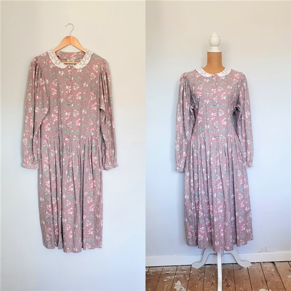 Vintage Laura Ashley dress, cotton and wool.