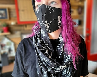 Dancing Skeletons Scarf and Face Covering Set