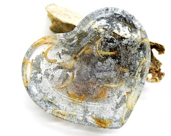 Heart shaped Silver Bone Filled Trinket Tray