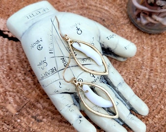 Gold Hammered Coyote Fang Earrings