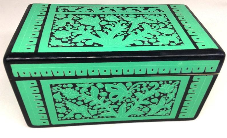 8x45wooden Box From Olinalà Guerrero Acqua Color Mexican Design Box