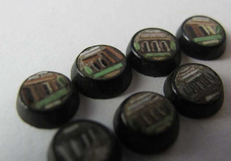 Micro Mosaic Color-black pattern TEMPLE Roman or Greek 5.5 mm diameter end XIXth MICRO mosaic Cabochon 7 X