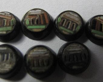 7 X Cabochon MICRO MOSAIC - Black Color - Roman or Greek TEMPLE pattern - Late 19th - Micro Mosaic - 5.5mm diameter