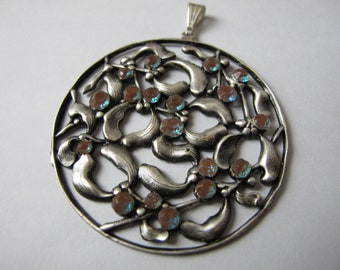 Antique PENDANT in Silver Brass - Art Nouveau - Decorated with 18 small Sapphirets