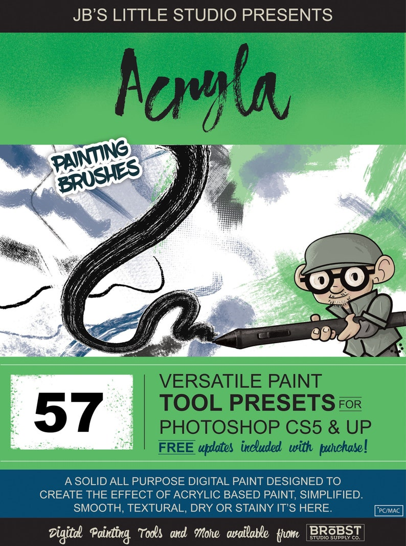 Acryla Paint Brush Tool Presets for Photoshop CS5 + (CC)