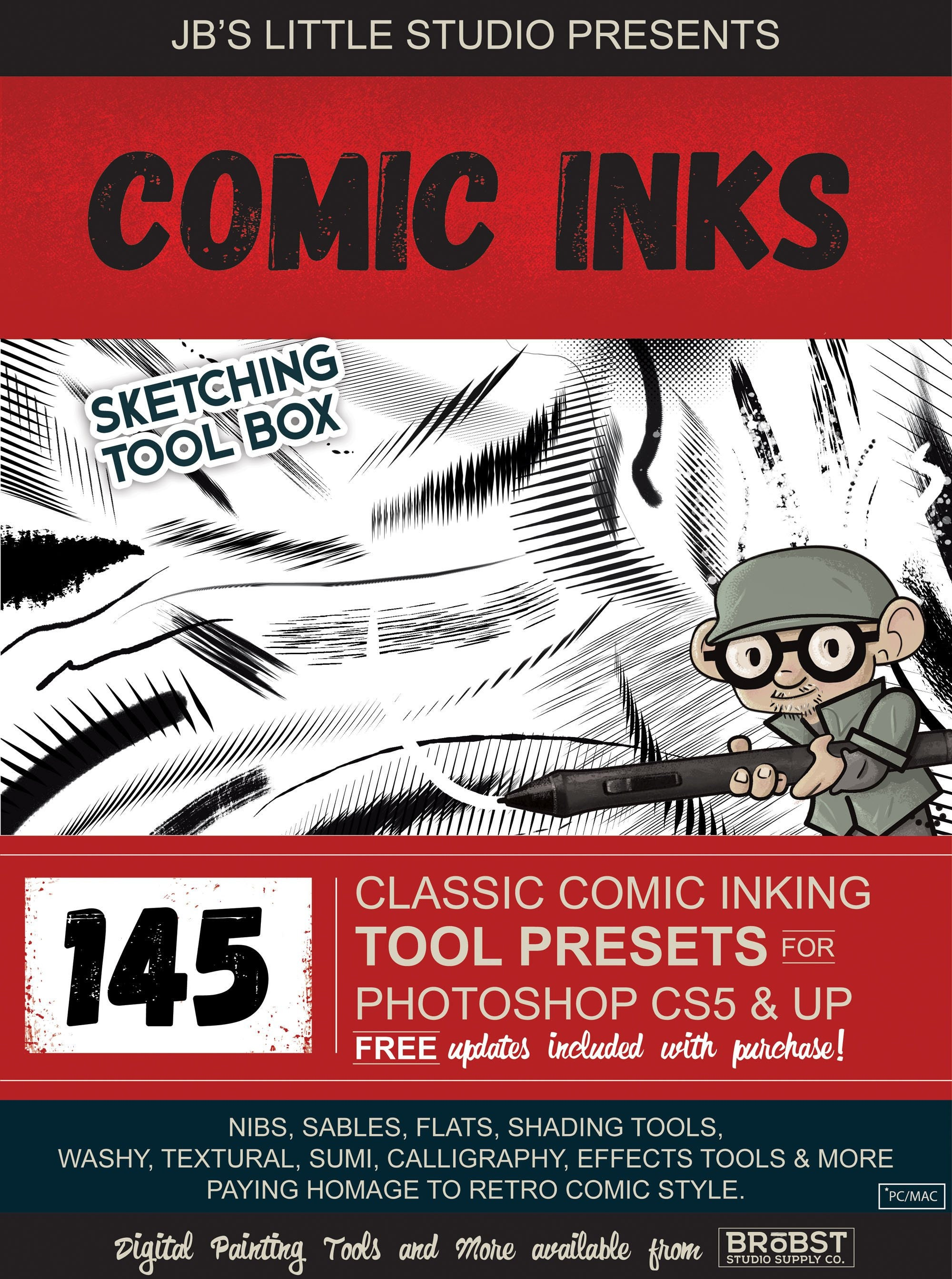 Comic Ink Brush Tool Presets for Photoshop CS5 + (CC)