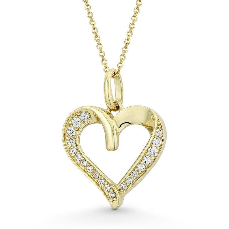 14k Solid White Gold CZ Cubic Zirconia Heart Charm Pendant