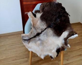 Goat Rug Homewarming Decor Rustic Style Rug Decor Chair Sofa Throw Natural Hide Pelt Natural Animal Pelt Brown Gray Unique Goat Skin
