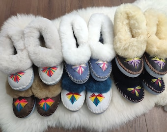 Sheepskin slippers, Lucky dip, Warm moccasins, Polish traditional leather slippers, Warm shearling slippers