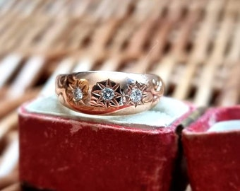 Rose Gold Antique (yr. 1907) Gypsy Diamond Ring | Layaway & Resizing Available | Size US 7.5 / UK O / EU 54.5 | Full Chester Hallmarks