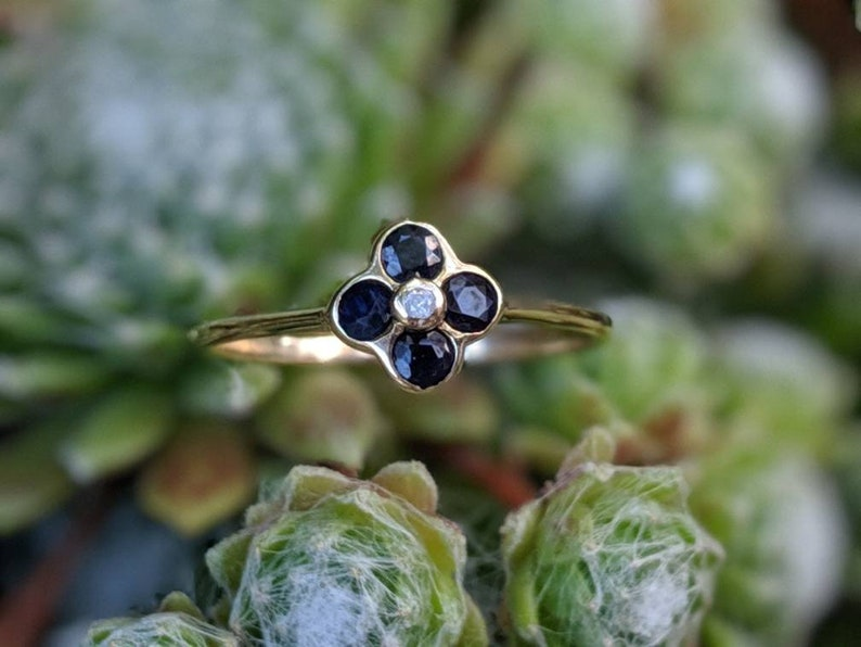 Beautiful Sapphire and Diamond Flower Cluster Ring Size M  US 6 12 Set in Solid 9 ct Gold Sweet Promise Ring