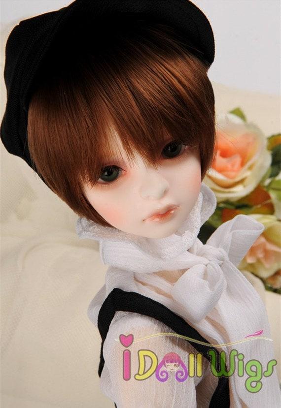 "7-8/""  Natural brown Small roll Short hair 1//3 1//4 BJD SD Doll Wig NEW 22-24cm"