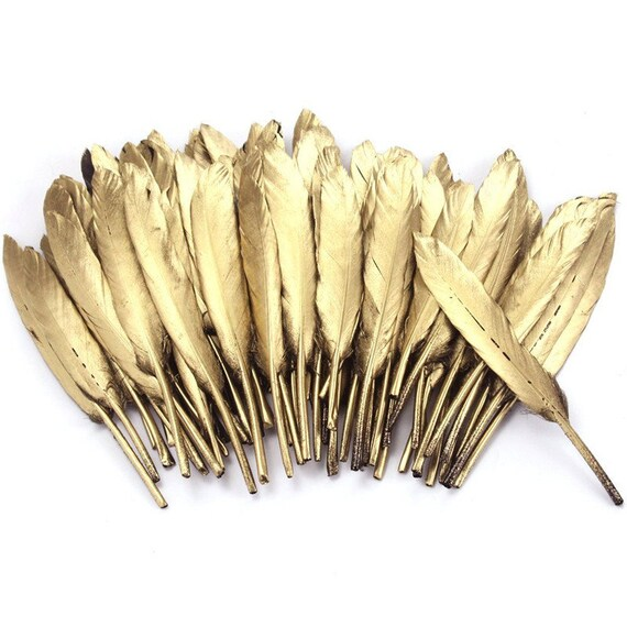 Wholesale 10-100pcs beautiful geese feathers gold and silver feathers decorated