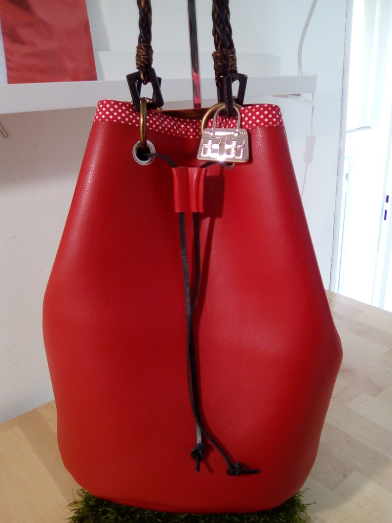 Red leather imitation seal bag image 0