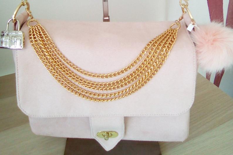 Pink shoulder bag in suede image 0