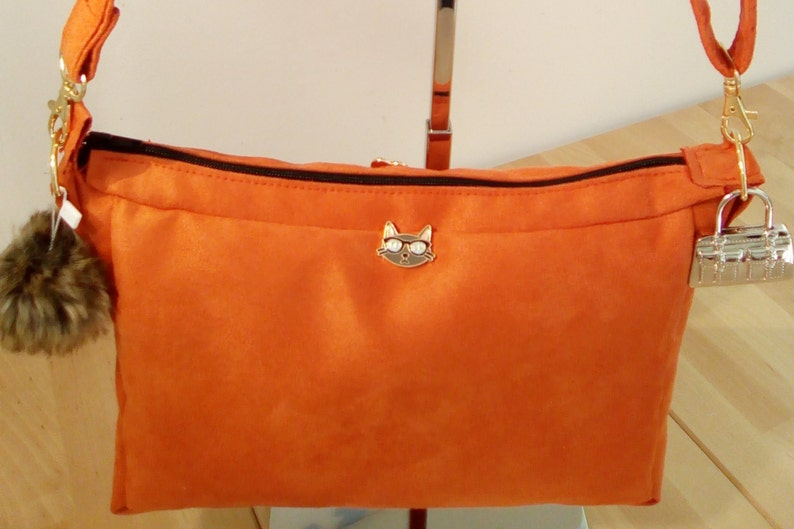 Orange suede shoulder bag image 0