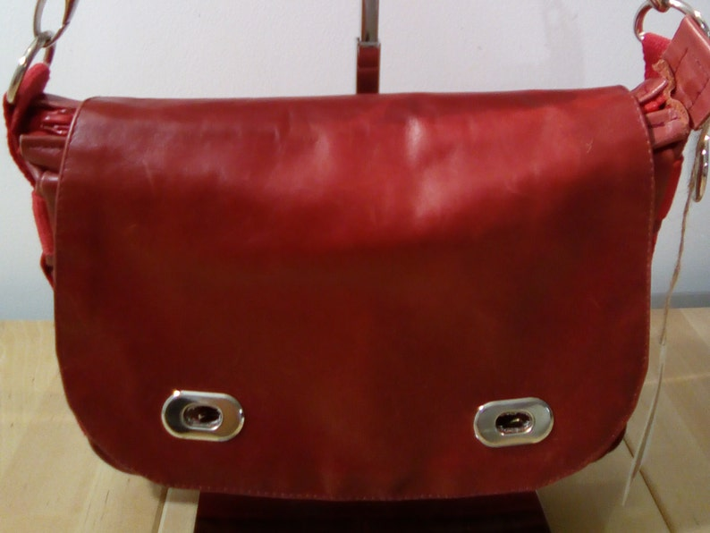 Red leather satchel image 0