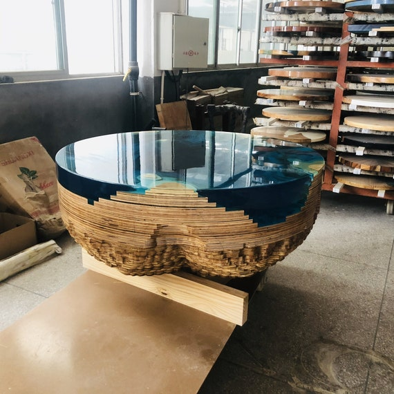 Super Unique Artwork Customized Plywood Round Coffee Table Creative Clear Blue Epoxy Resin Table With Free Shipping Lamtechconsult Wood Chair Design Ideas Lamtechconsultcom