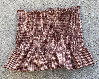 08142941cb1bae Red and Tan Gingham Smocked Tube Top with Ruffle Detail