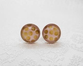 """Cabochon stud earrings in sterling silver (10 mm): motif """"golden dots"""""""