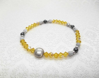 Bracelet with Swarovski and sterling silver beads