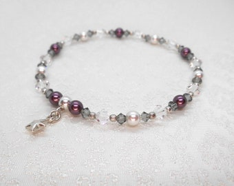 Bracelet with Swarovski beads and charm in sterling silver