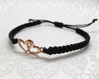 Friendship ribbon, bracelet macrame with hearts in rose gold and sliding knots