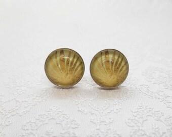 """Cabochon stud earrings in sterling silver (10 mm): motif """"golden palm"""""""