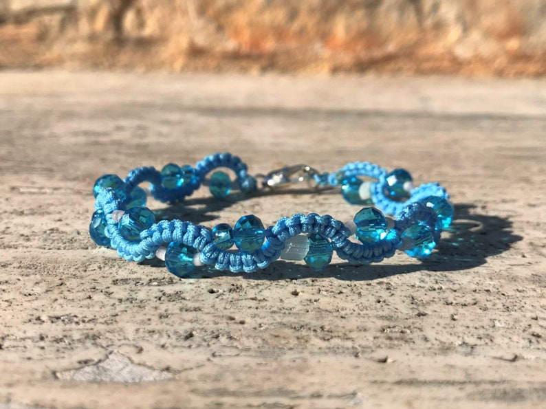 Glass beads blue white Wave shaped Elfic jewelry Blue Crystal wavy bracelet Micromacrame jewelry Bohemian boho. Friendship gift idea