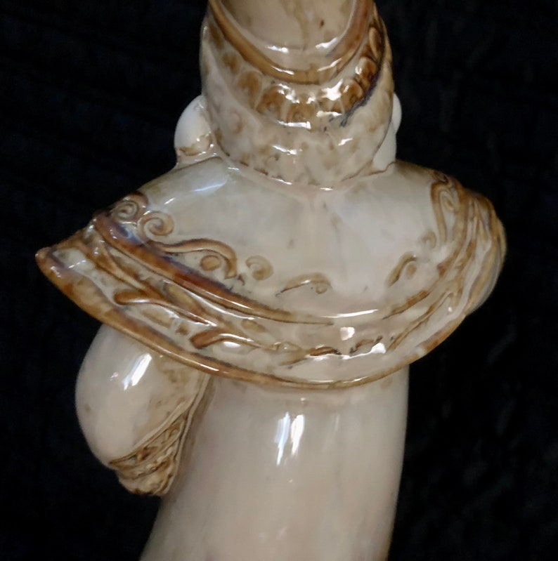 Elegant White Ceramic Father Christmas Glazed and Unglazed with Brown Accent