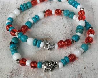 Red, white, turquoise bracelets, bracelet with elephant and bracelet with hamsa hand, colored bracelet set, mixed beaded bracelets