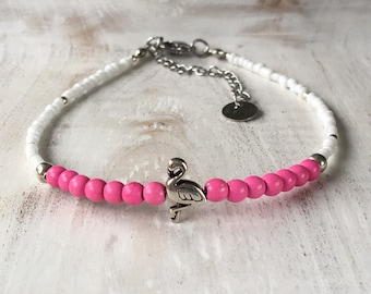 Flamingo anklet, white and pink anklet, beaded anklet, flamingo jewellery, flamingo jewelry, beaded anklets, flamingo lover gift
