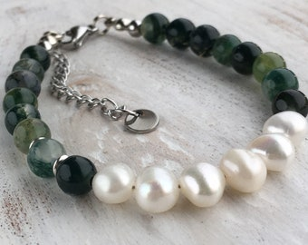 Bracelet of green moss agate and freshwater pearls with stainless steel (hypoallergenic) finish and closure.