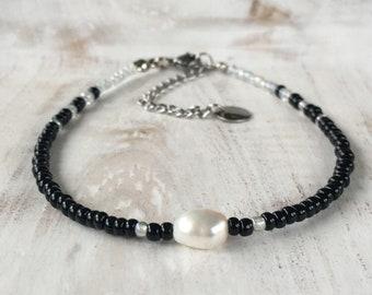 Freshwater pearl ankle bracelet, freshwater pearl anklet, black beaded anklet, minimalistic anklet, black anklet